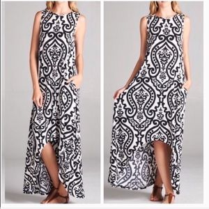 Dresses - Damask Black Hi-Low Sleeveless Maxi Dress Sz Sm